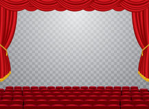 Trans auditorium cinema. Vector transparent empty stage with red curtain and empty auditorium, layered and editable royalty free illustration