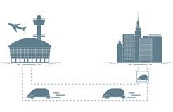 Trans. av passagerare från stad till flygplatsen royaltyfri illustrationer