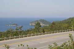 Trans Canada Highway. Along Lake Superior shoreline in Ontario, Canada Royalty Free Stock Images