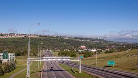 Trans canada highway in Calgary Alberta. View of trans canada highway in Calgary Alberta looking West stock footage