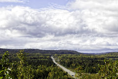 Trans-Canada Highway in northern Ontario. Trans-Canada Highway in autumn through north-western Ontario Royalty Free Stock Images