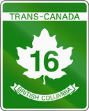 Trans-Canada Highway 16. Highway shield of the Trans-Canada highway number 16 in British Columbia stock illustration