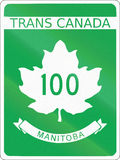Trans-Canada Highway 100. Highway shield of the Trans-Canada highway number 100 in Manitoba vector illustration