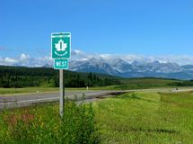 Trans Canada Highway With Sign Stock Photo