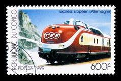 Trans.-Europa uttrycklig Tyskland, serie för elektriska lokomotiv, circa 1999 Royaltyfria Foton