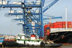 Trans. export, import, Ho Chi Minh port royaltyfri foto