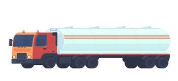 Trans. för behållarelastbil, olja, bensin till bensinstationer, vatten och vätskevikter Semitrailer med en behållare för vektor illustrationer