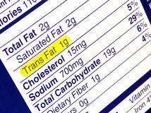 Trans Fat. Nutrition label highlighting the unhealthy trans fats. The Food and Drug Administration recently announced a plan to take artificial trans fats Stock Photo