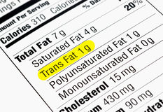 Trans Fat. Nutrition label highlighting the unhealthy trans fats. The Food and Drug Administration recently announced a plan to take artificial trans fats Stock Photos