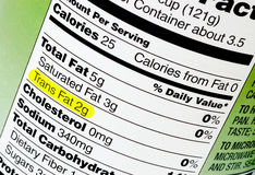 Trans Fat. Nutrition label highlighting the unhealthy trans fats. The Food and Drug Administration recently announced a plan to take artificial trans fats Stock Image