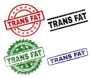 Grunge Textured TRANS FAT Stamp Seals. TRANS FAT seal prints with distress texture. Black, green,red,blue vector rubber prints of TRANS FAT text with corroded Royalty Free Illustration