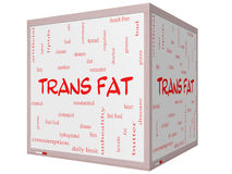 Trans Fat Word Cloud Concept on a 3D Cube Whiteboard Stock Photo