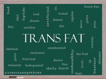Trans Fat Word Cloud Concept on a Blackboard. With great terms such as grams, diet, unsaturated and more Royalty Free Illustration