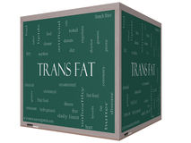 Trans Fat Word Cloud Concept on a 3D Cube Blackboard. With great terms such as grams, diet, unsaturated and more Stock Illustration