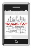 Trans Fat Word Cloud Concept on Touchscreen Phone. Trans Fat Word Cloud Concept of Touchscreen Phone with great terms such as oil, heart, fast food and more stock illustration
