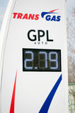 Trans het aanplakbord van de Gas gpl prijs Stock Foto's