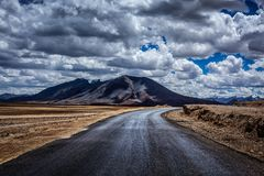 Manali-Leh highway. Ladakh, India. Trans-Himalayan Manali-Leh highway in Himalayas. More plains, Ladakh, Jammu and Kashmir, India royalty free stock photography