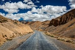 Trans-Himalayan Manali-Leh highway road. Ladakh, Jammu and Kashm Royalty Free Stock Image