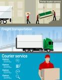 Trans.- och för leveransföretag illustration Arkivfoton