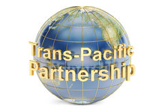 Trans-Pacific Partnership concept, 3D rendering. On white background Royalty Free Stock Images
