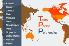 Trans pacific partnership concept Stock Photo
