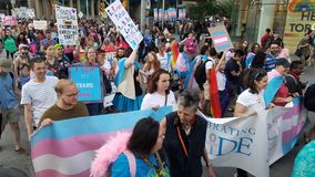 Trans parade in Toronto stock photography