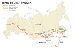 Trans Siberian railroad map. Map of the Russian Trans Siberian railroad vector illustration