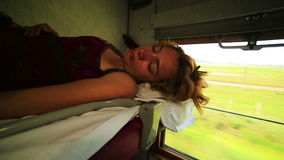Trans Siberian train journey. Woman sleeping during trans Siberian train journey, Russia stock video