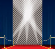 Trans spot blue carpet. Vector opened blue curtain stage with red carpet, golden fence and five spotlights Stock Images