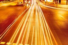 trans stads- abstrakt bakgrund Hastighetstrafik på höjdpunkt Royaltyfria Foton