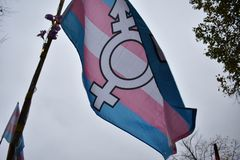 Trans*-Stolzflagge an einer Demonstration in Berlin lizenzfreie stockfotos