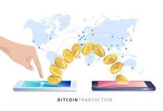 Transacción de Bitcoin Ejemplo isométrico del vector stock de ilustración