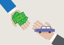 Transacción del coche stock de ilustración