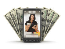 Transacciones del dinero por el teléfono móvil Imágenes de archivo libres de regalías