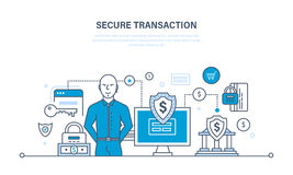 Transacciones seguras, pagos, garantía de la seguridad de depósitos financieros e información Imágenes de archivo libres de regalías