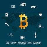 Transacciones virtuales del dinero de Bitcoin en todo el mundo - en todo el mundo infographic Imagen de archivo