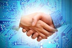 IT transactie of fusie tussen bedrijven stock foto