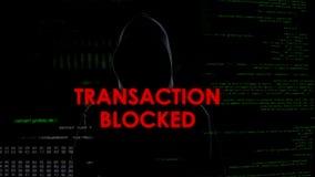 Transaction bloquée, tentative infructueuse de voler l'argent, criminel déçu image libre de droits
