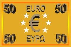 50 transaction capitale d'euro de la note 3d de symbole facture d'argent liquide Photographie stock