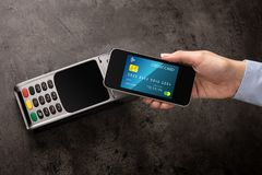 Transaction completed with mobile credit card. Transaction completed on terminal with mobile credit cardn stock photos