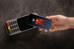 Transaction completed with mobile credit card. Transaction completed on terminal with mobile credit cardn royalty free stock photos