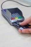 Transaction with credit debit card. Visa Stock Photos