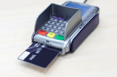 Transaction with credit debit card in. Transaction with credit debit card Visa in shopping Royalty Free Stock Image