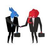 Transaction elephant and donkey. Democrats and Republicans shake Royalty Free Stock Images