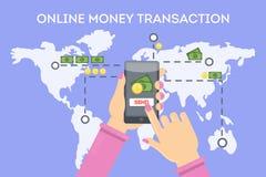 Transaction en ligne d'argent illustration stock