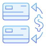Transaction flat icon. Two credit cards blue icons in trendy flat style. Money transfer gradient style design, designed. For web and app. Eps 10 royalty free illustration