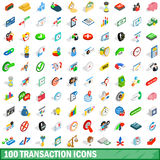 100 transaction icons set, isometric 3d style. 100 transaction icons set in isometric 3d style for any design vector illustration Royalty Free Stock Photography