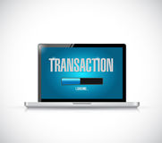 Transaction loading bar on a laptop illustration Royalty Free Stock Images