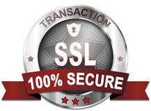 Transaction ssl protected 100% secure. Button Stock Photo