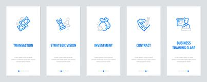 Transaction, Strategic vision, Investment, Contract, Business training class Vertical Cards with strong metaphors. Transaction, Strategic vision, Investment Royalty Free Stock Image
